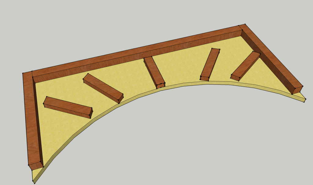 Wood frame for drywall arch