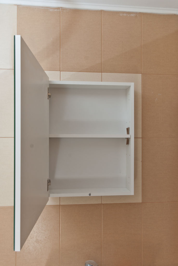 Amazing Bathroom white cabinet mirror installed