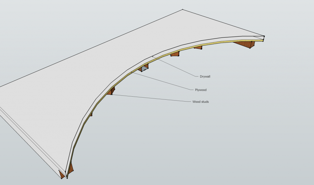 Wood frame drywall arch