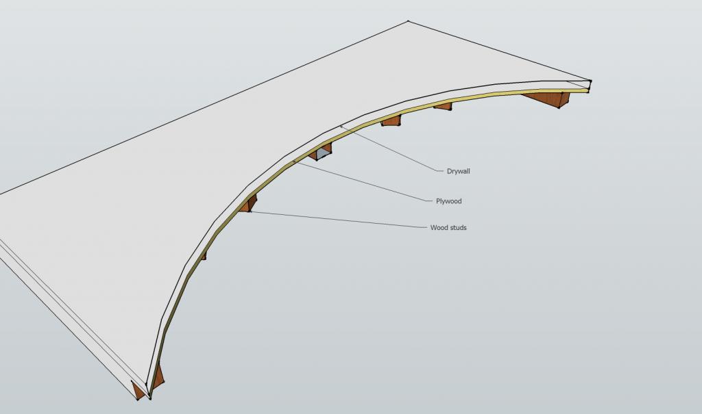 Wood frame drywall arch