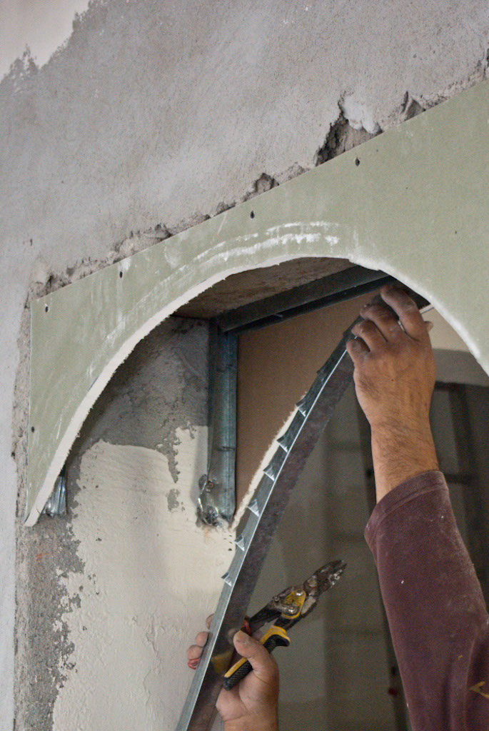 Lighting Basement Washroom Stairs: How To Build A Drywall Arch