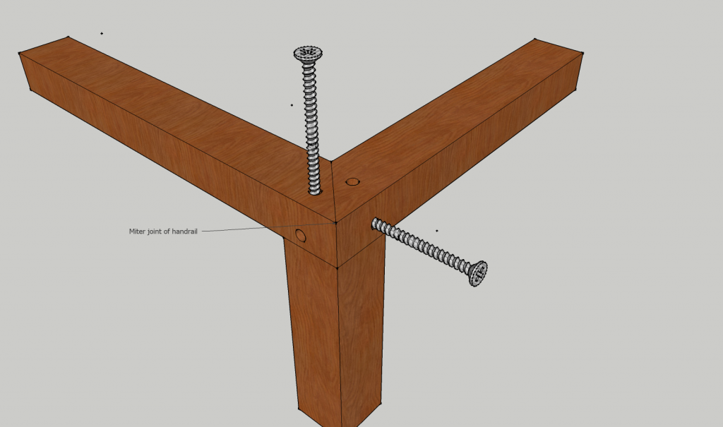 Mitered joint handrail