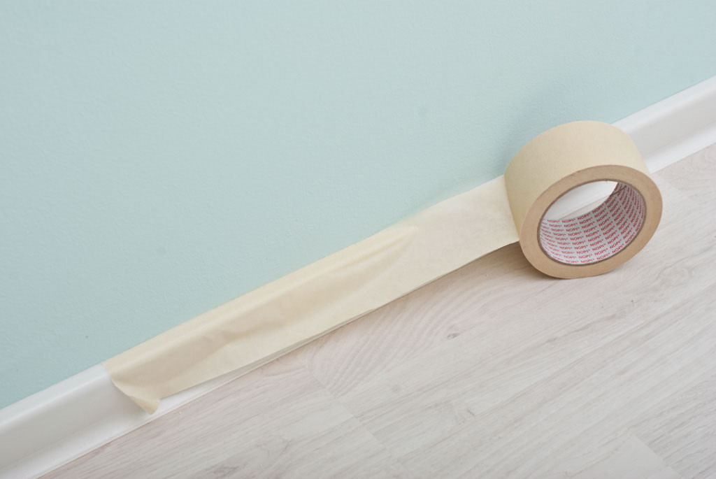 Protecting the baseboard trim with paper tape