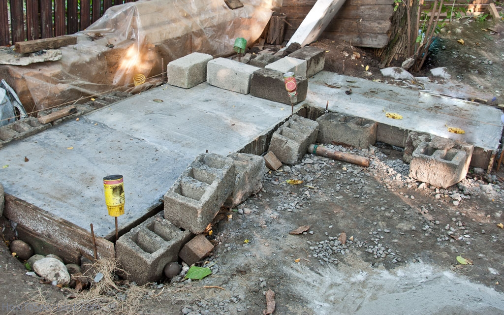Dried concrete foundation