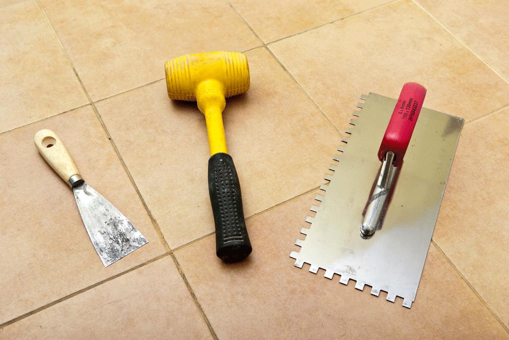 Installing flooring tile in bathroom