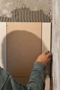 Installing cut tile in corner