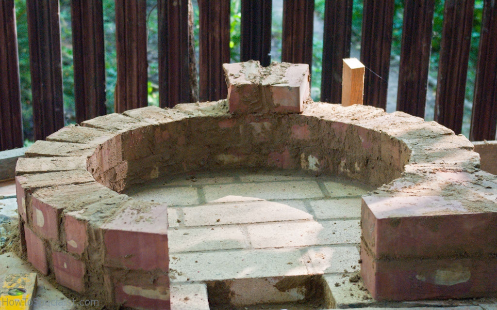 Making the dome-shaped pizza oven