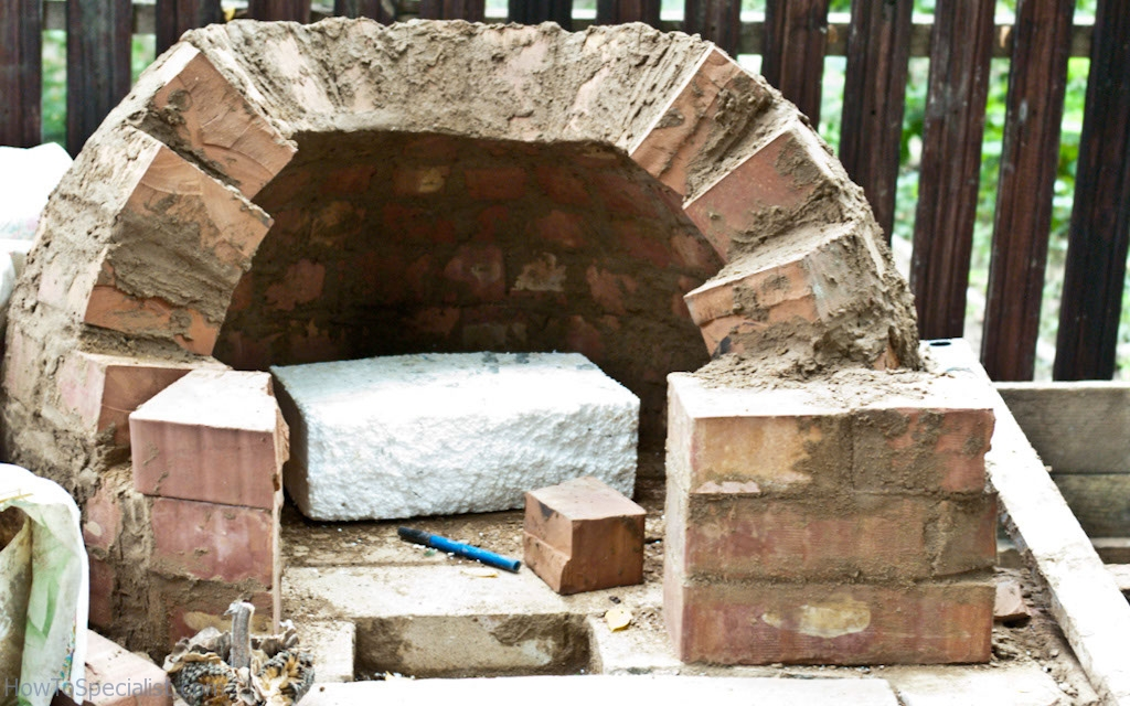 Preparing to build the oven's arch