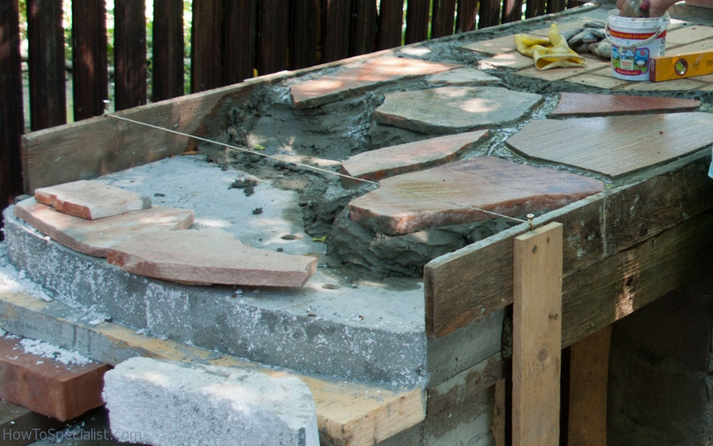 Installing flagstone countertop