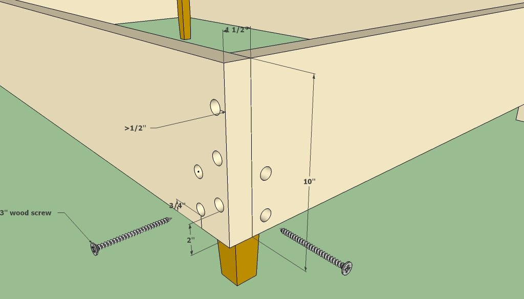 queen bed frame outside corner joint