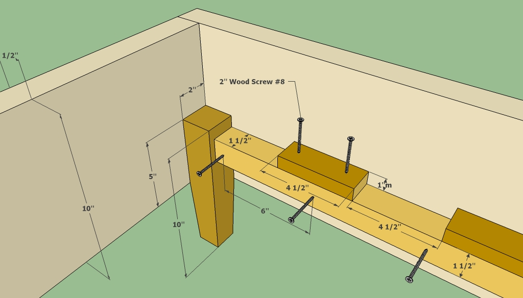 Wooden bed frame corner joint leg