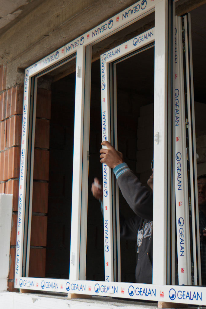 Attaching the window to the PVC frame
