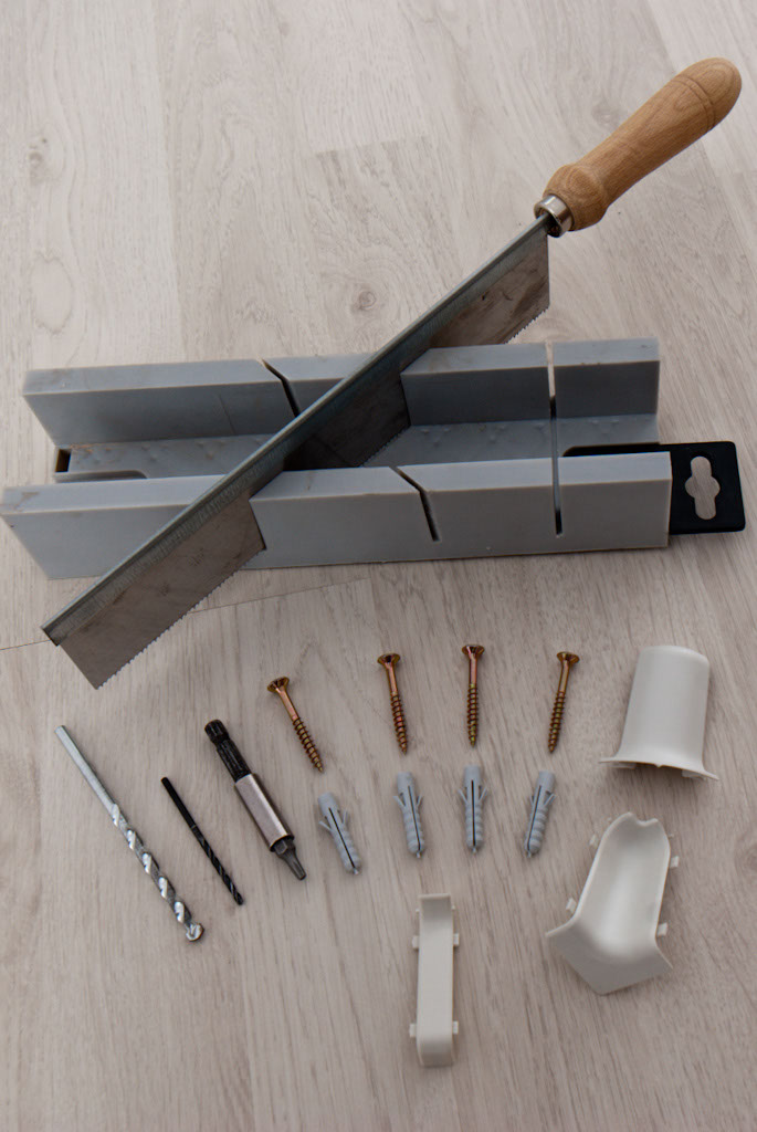 Tools for installing plastic baseboard