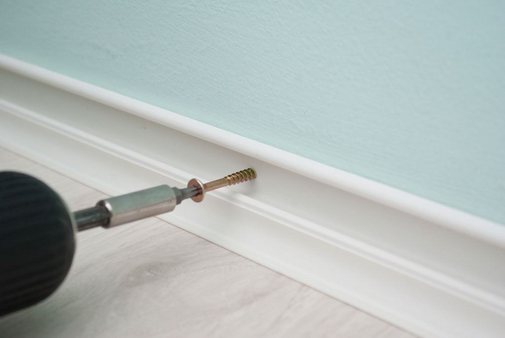 Fastening baseboard trim with screws