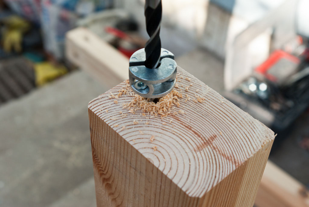 Drilling holes in the wood joint parts