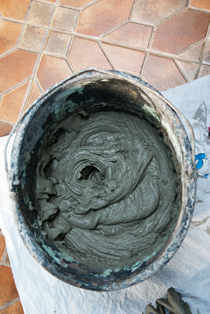 Mixing ceramic tile adhesive