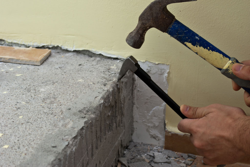 Removing old tile adhesive