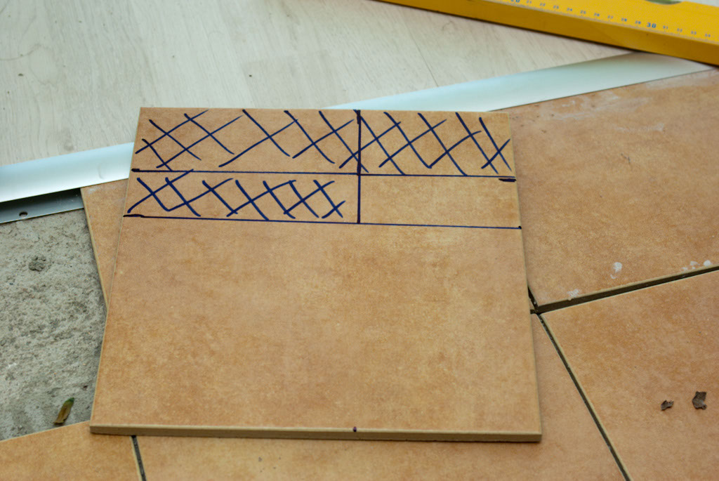 Cut lines on tile
