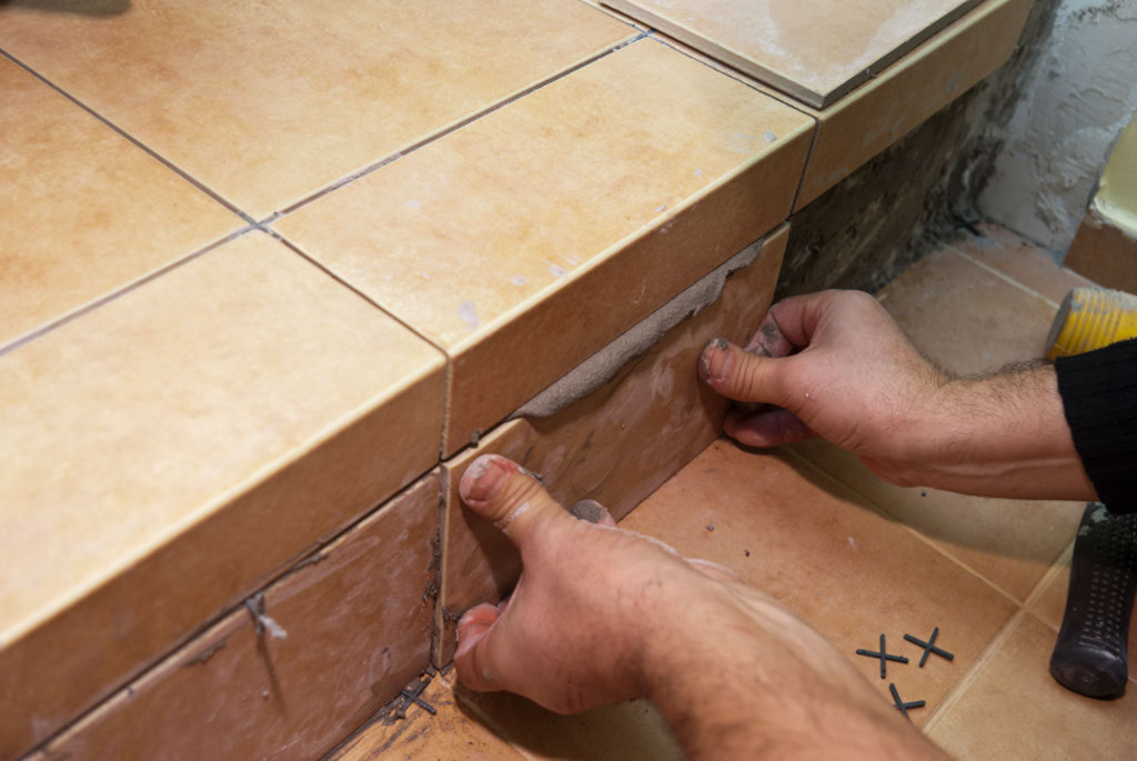 Installing tile stairs
