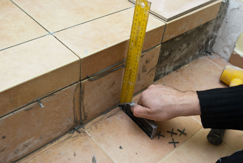 Making sure tile stairs are plumb