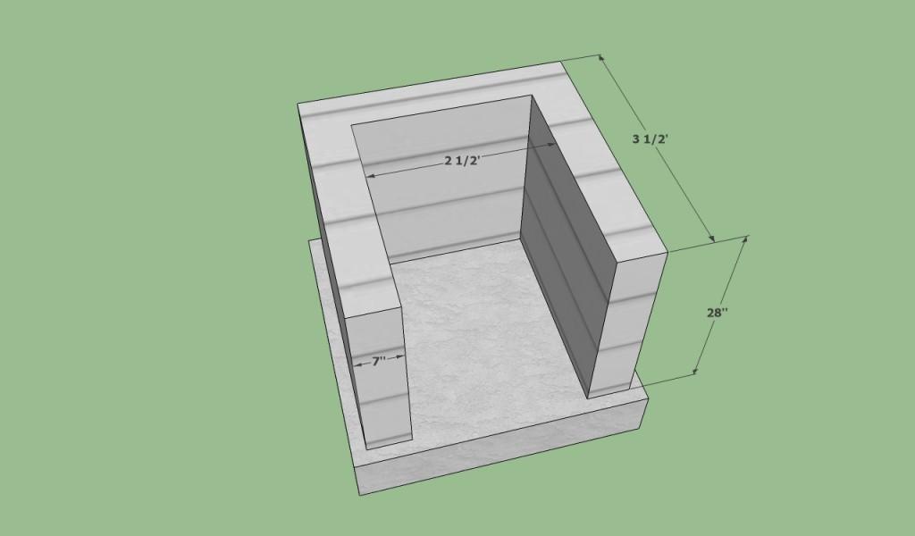 Laying the concrete blocks