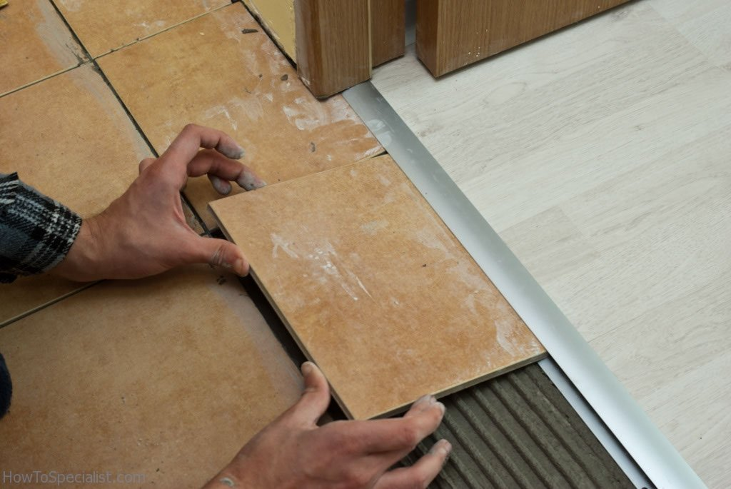 Installing tile to laminate transition