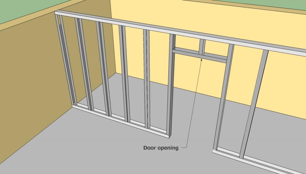 Metal stud door opening