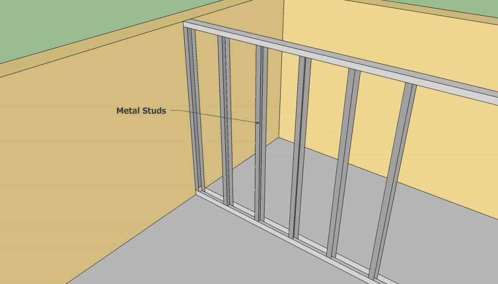 Metal stud wall