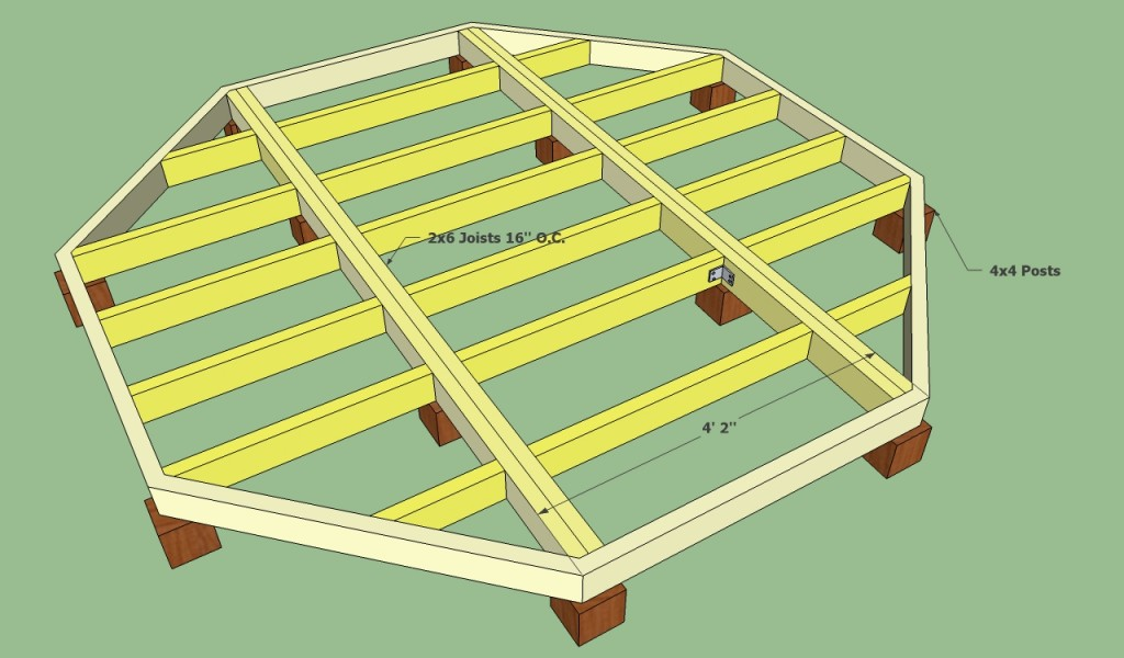 Floating deck plans free howtospecialist how to build for Hexagon deck plans