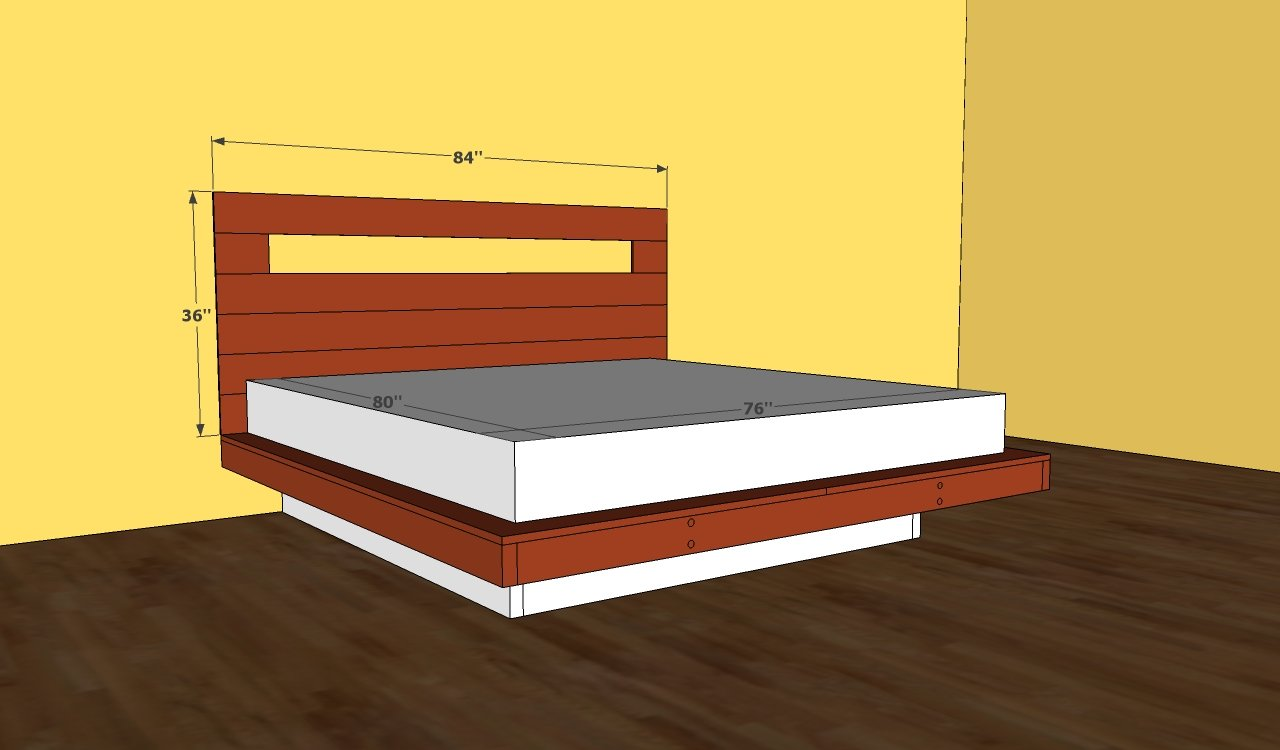 Platform bed plans king bed plans diy blueprints Simple wood bed frame designs