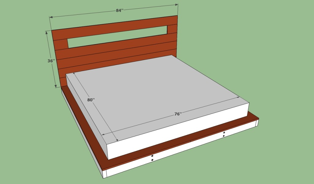 king size mattress on platform bed