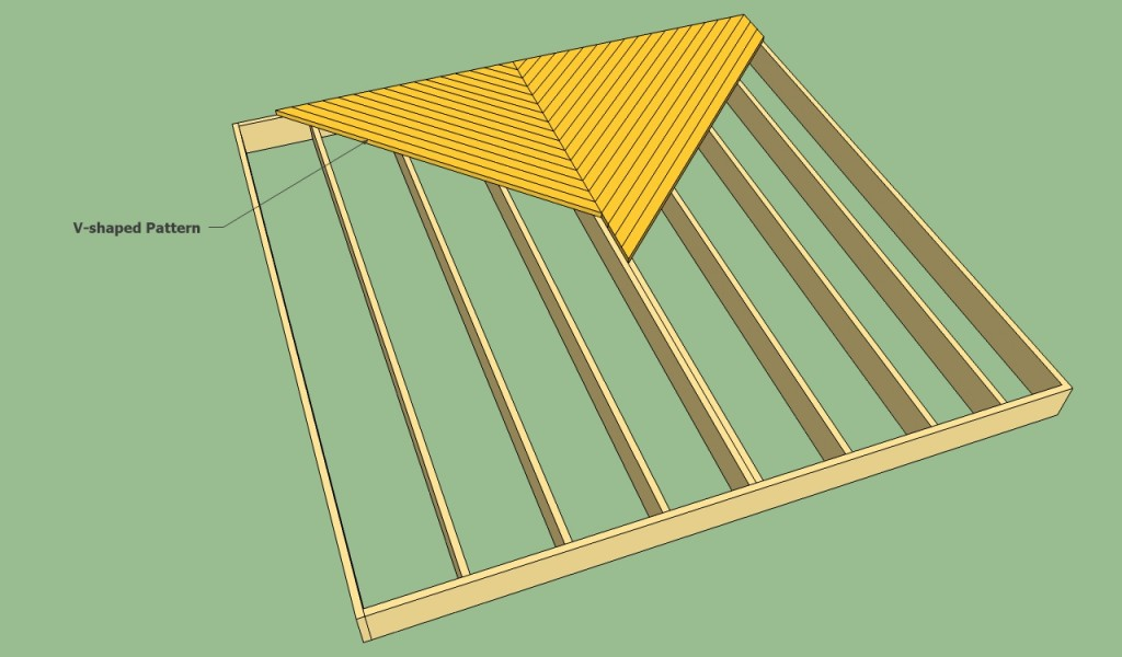 V-shaped decking pattern
