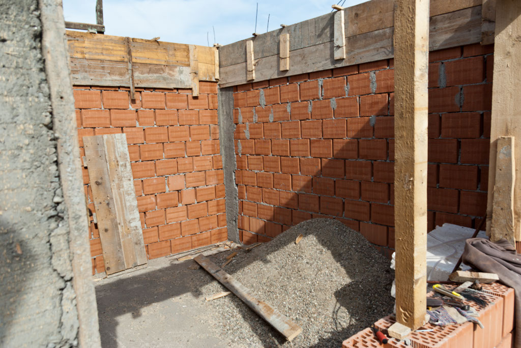 Brick house construction
