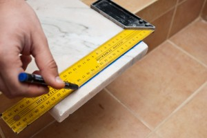 Marking cut line on marble sill