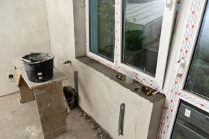 Installing marble window sill