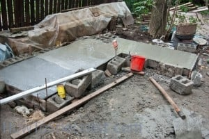 Pouring wood fired oven foundation