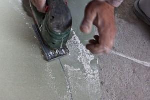 Cutting drywall with a jigsaw