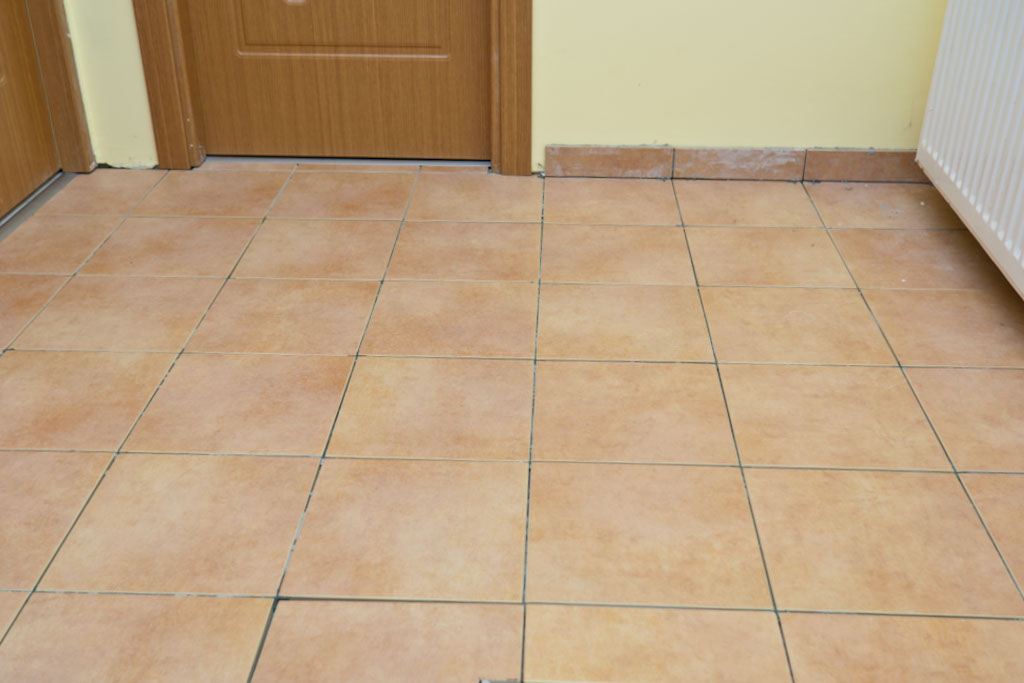 Tile on concrete floor