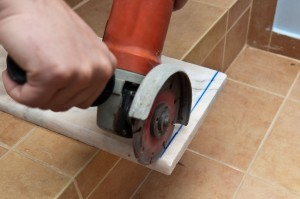 Cutting marble sill