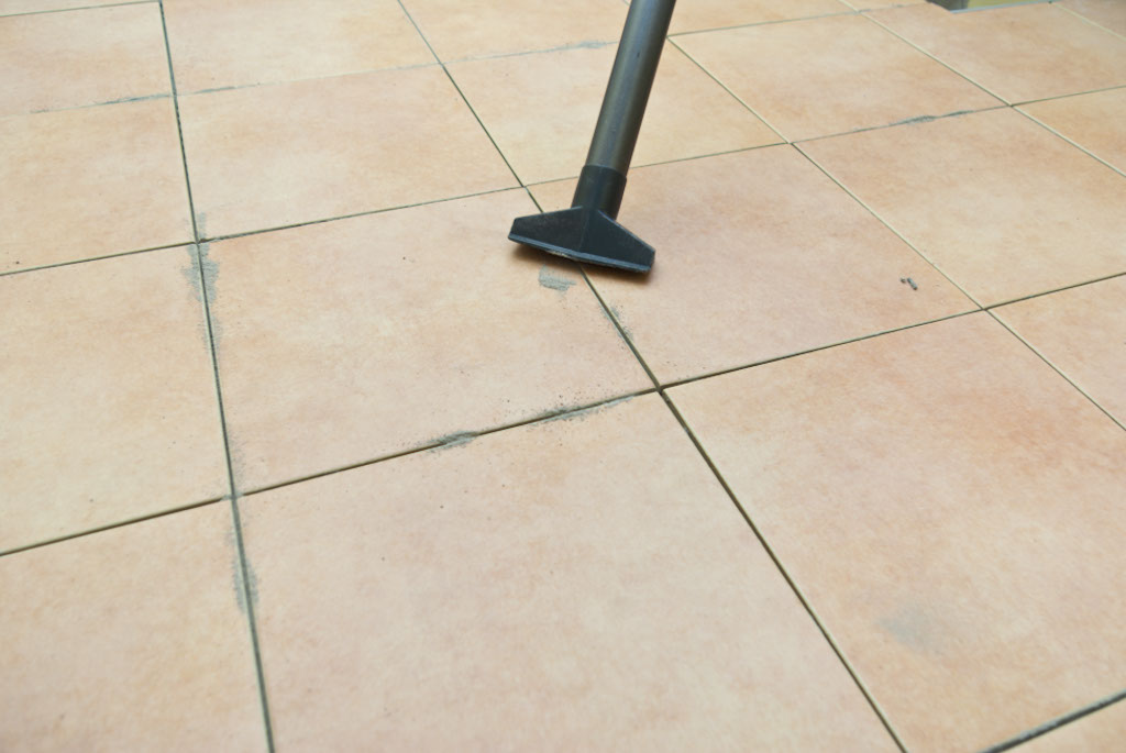 Cleaning the floor tiles