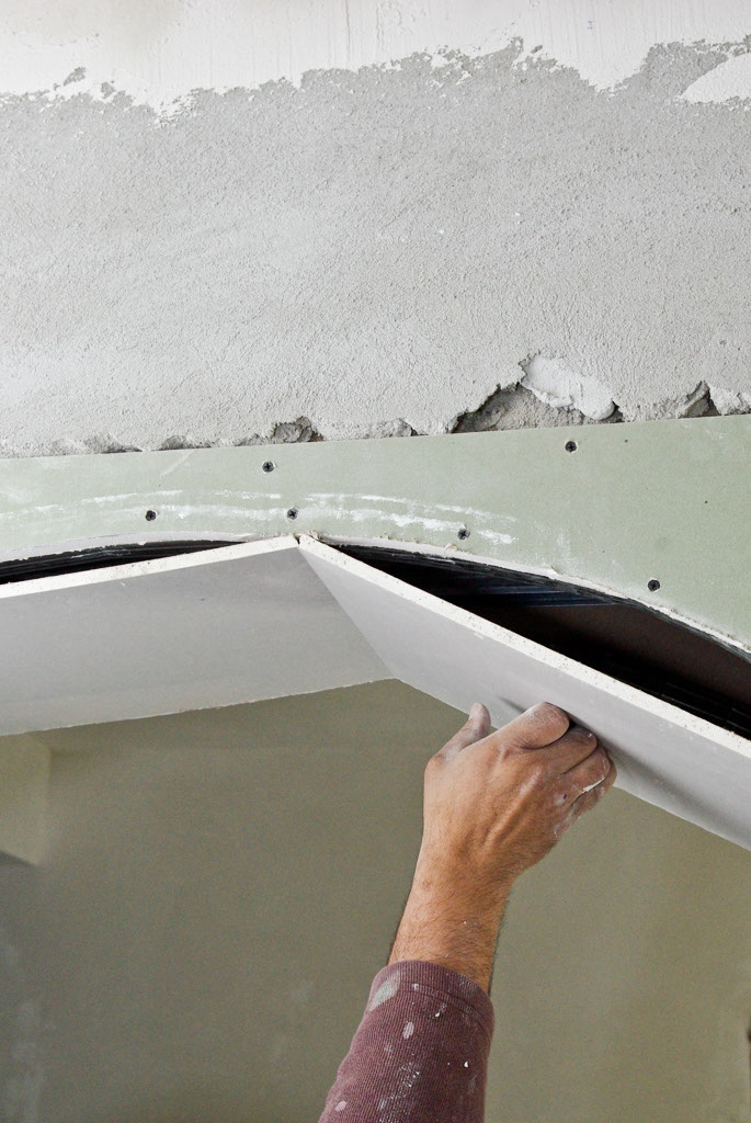 Bending drywall on an arch