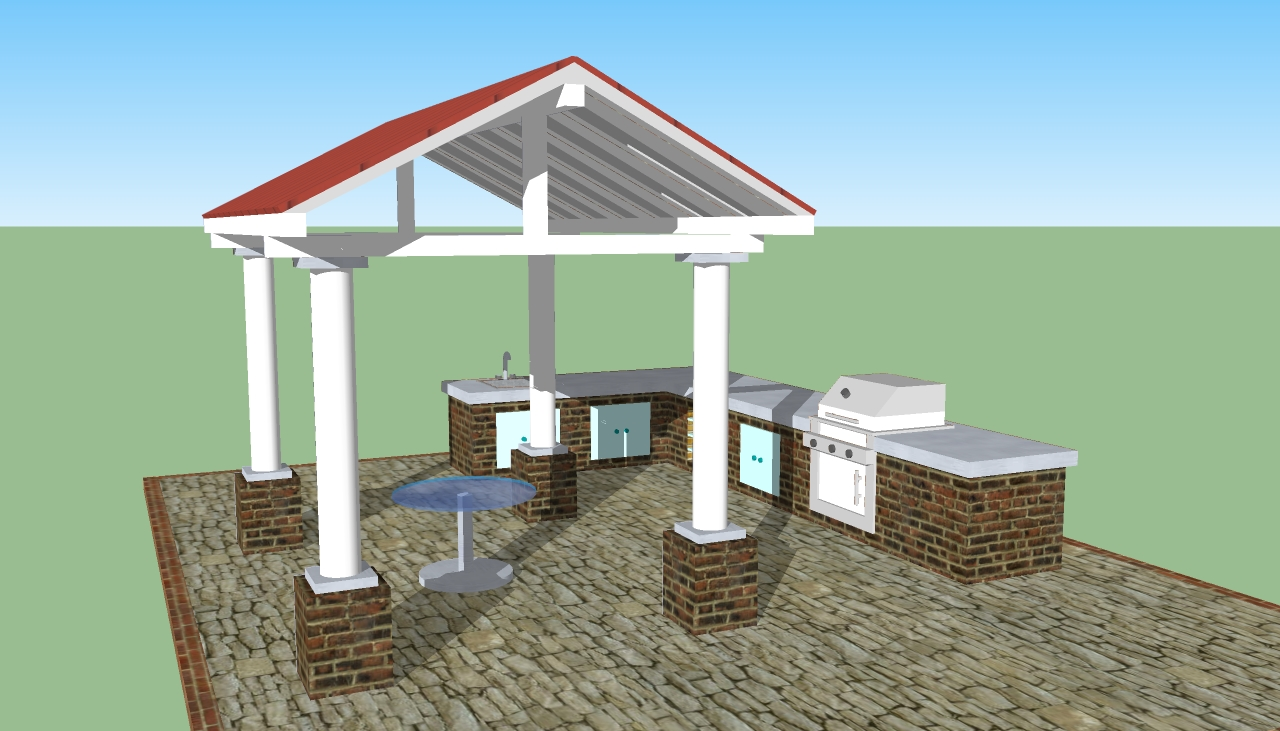 Outdoor kitchen plans free howtospecialist how to for Kitchen designs outside