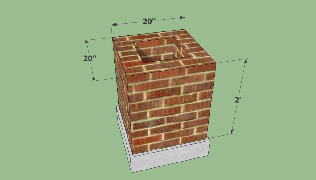 Brick barbeque base