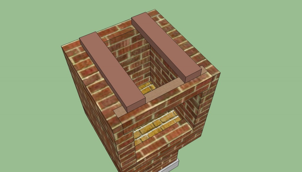 Prefabricated beams support the chimney