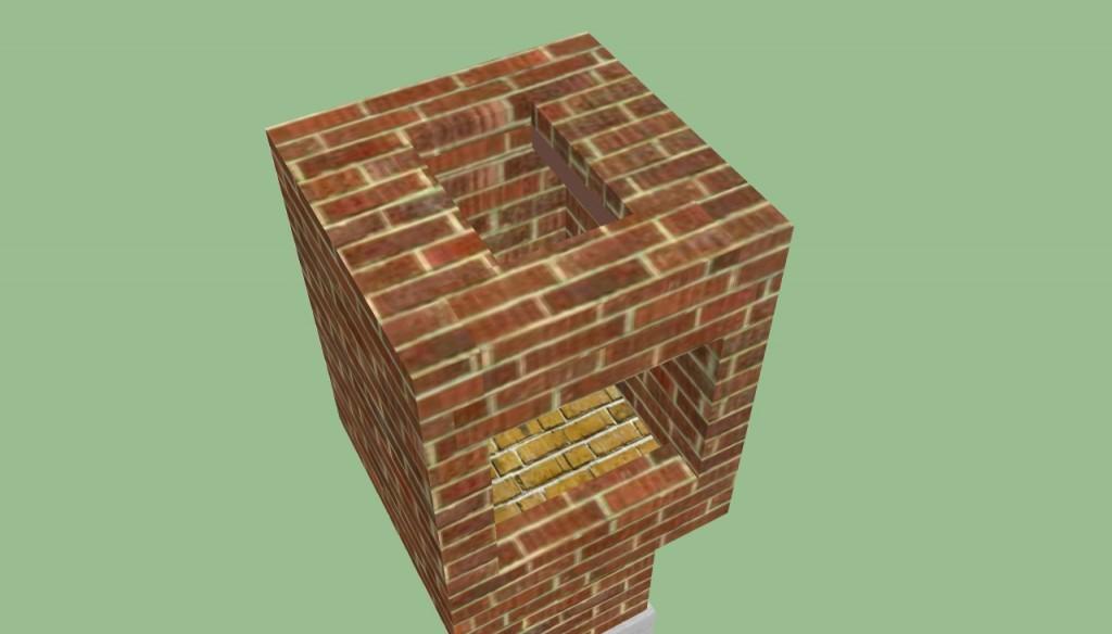Building the chimney of brick bbq