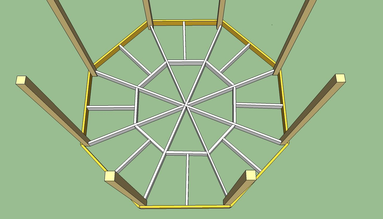 Hexagonal pergola plans joy studio design gallery best for Hexagonal roof framing