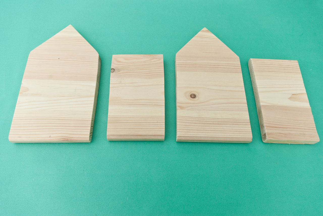 Front and read gable ends and sides of birdhouse