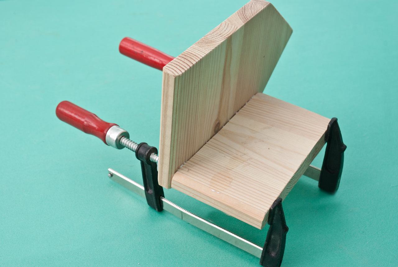 Locking the components with C-clamps