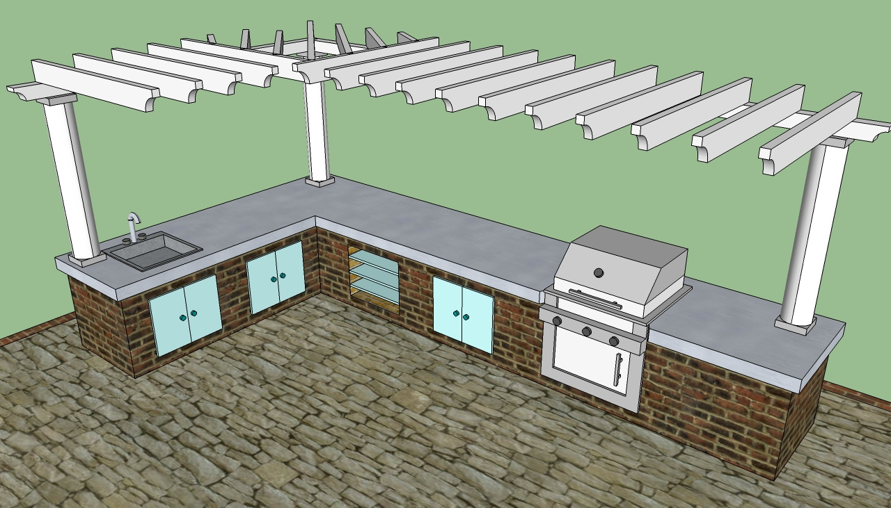 Outdoor kitchen howtospecialist how to build step by for Plans for outside kitchen