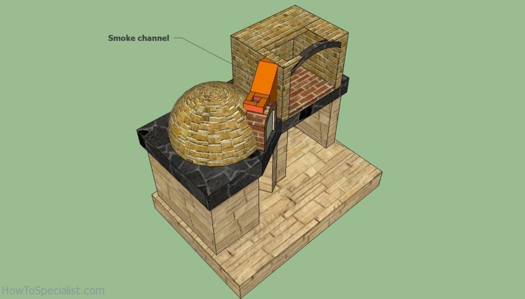 Brick oven smoke chimney